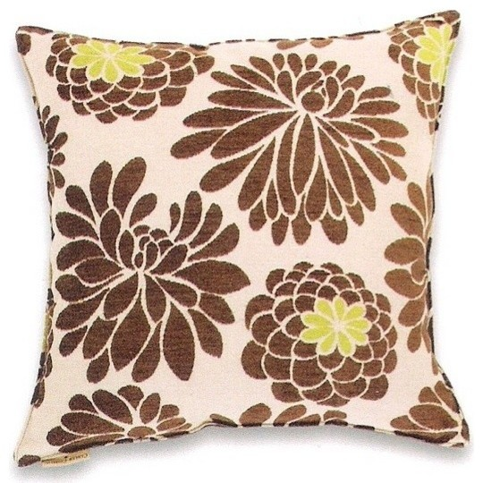 Large Throw Pillow Patterns : Edwin Natural Chenille Large Flower Pattern Print 20