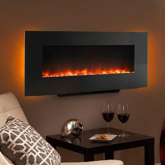 Simplifire 38 in black linear wall mount electric fireplace sf wm38 bk contemporary indoor - Contemporary wall mount fireplace ...