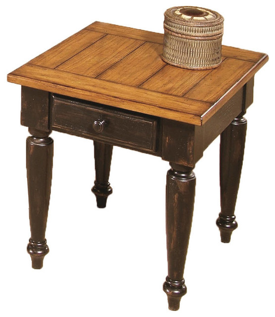 Country Vista Country Antique Black Oak Wood End Table Traditional Side Tables And End