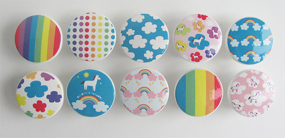 Cute Unicorn and Rainbows Knobs by Leila's Loft, Set of 10 - Contemporary - Cabinet And Drawer ...