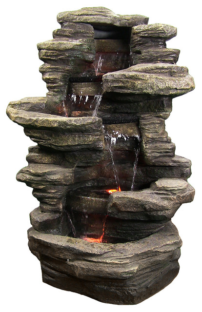 Stacked Shale Outdoor Water Fountain w LED Lights by