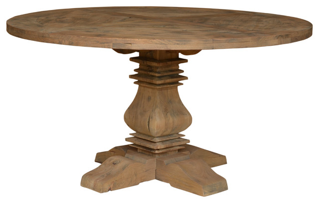 Reclaimed Round Dining Table Solid Wood Traditional Dining Tables