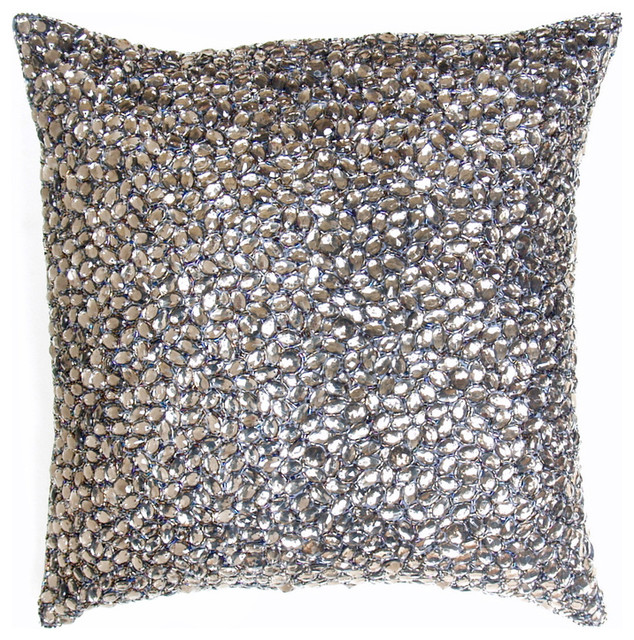 Nikki Grey Jeweled Beaded Pillow - 10x10 - Modern - Decorative Pillows - by Kathy Kuo Home