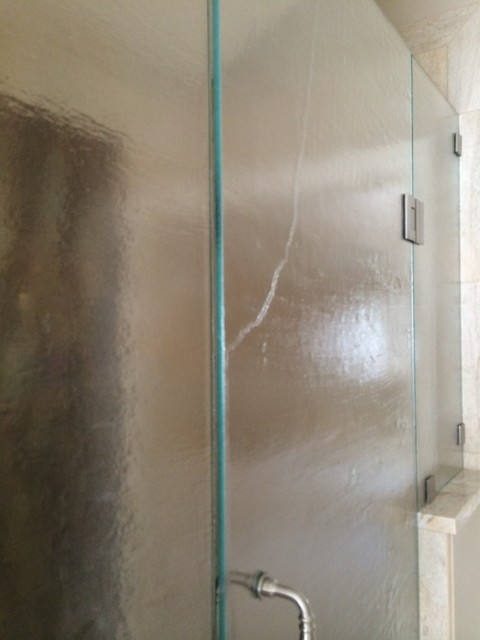 Stone textured shower door for Accents salon chagrin falls