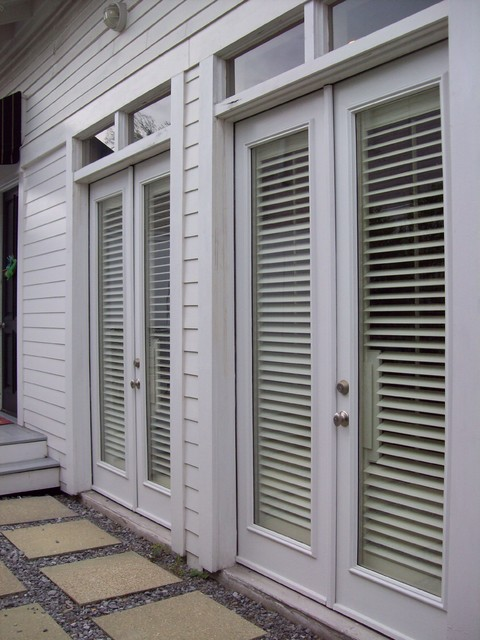Shutters on french doors exterior view traditional - Exterior french doors with blinds ...