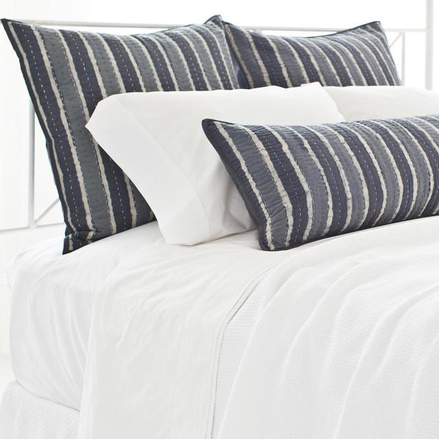 PCH Resist Stripe Gray Pillow Sham - Modern - Pillowcases And Shams