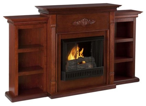 Tabitha Fireplace With Bookcases Traditional Indoor Fireplaces