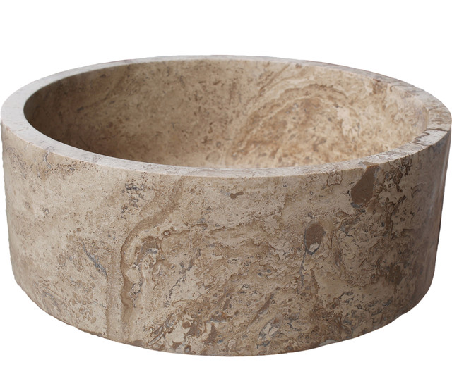 Cylindrical Natural Stone Vessel Sink Noce Travertine