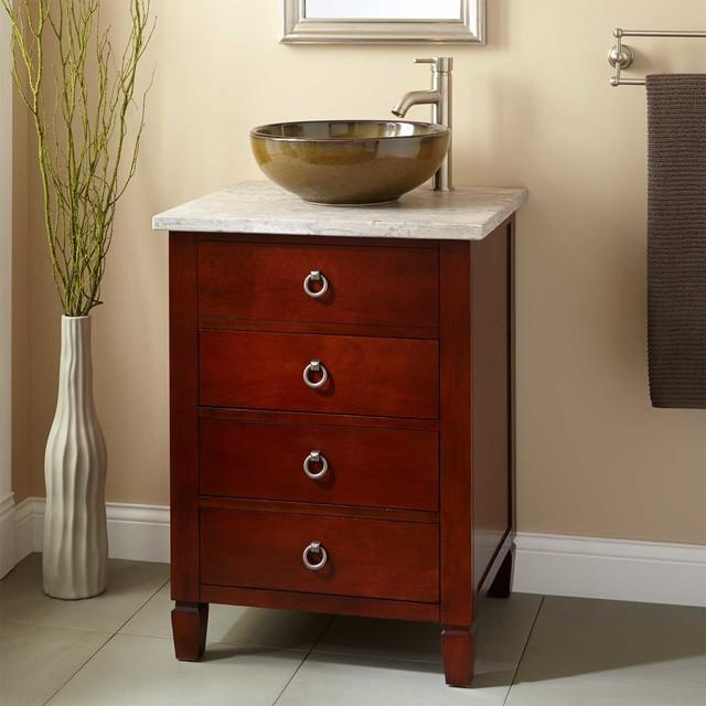 24 Watkins Vessel Sink Vanity Light Cherry Traditional Bathroom Vanities And Sink