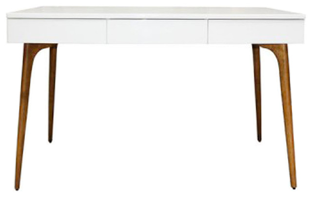 Bureau en bois blanc design contemporain meuble bureau for Meuble bureau contemporain