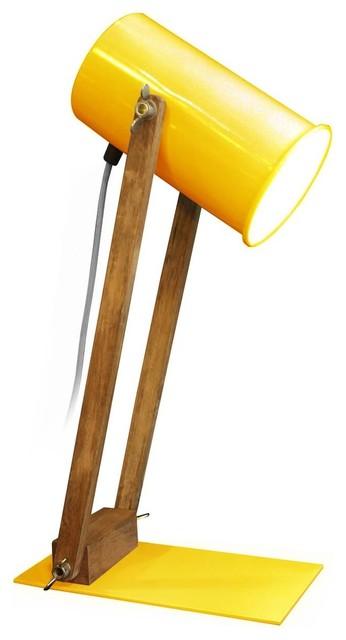 Lampe architecte bois et m tal regulus couleur jaune - Lampe a poser industriel ...