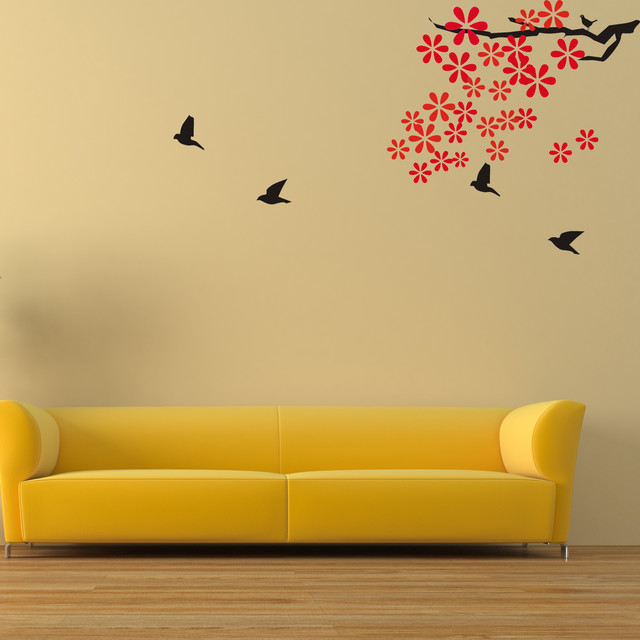flower wall decal with flying birds vinyl wall decal wall decor murals graphic w modern