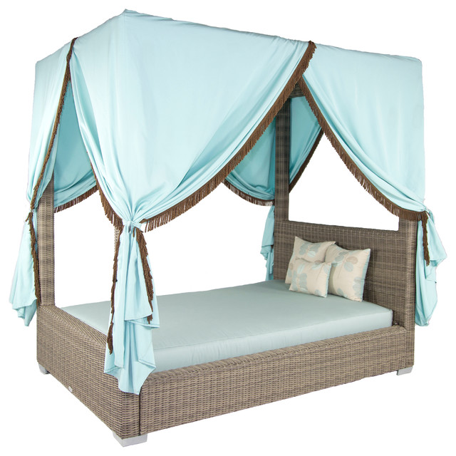 Palisades queen canopy bed canvas taupe tropical for Outdoor lounge bed with canopy