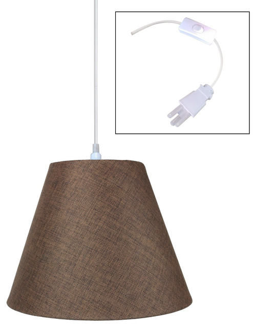 light plug in swag pendant lamp light oatmeal 7x14x11 contemporary. Black Bedroom Furniture Sets. Home Design Ideas