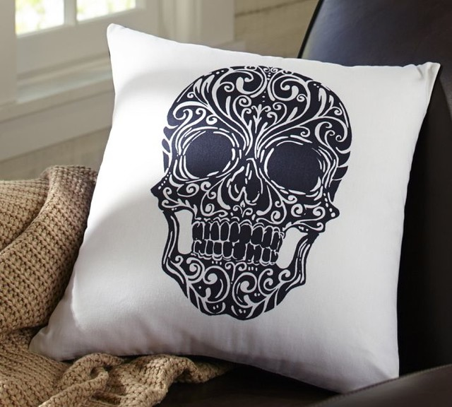 Eclectic Decorative Pillows : Day of the Dead Skull Pillow Cover, Black/White - Eclectic - Decorative Pillows - by Pottery Barn