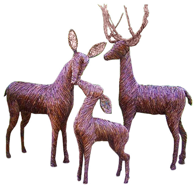 Lifesize sculpted grapevine deer buck standing rustic for Christmas deer outdoor decorations