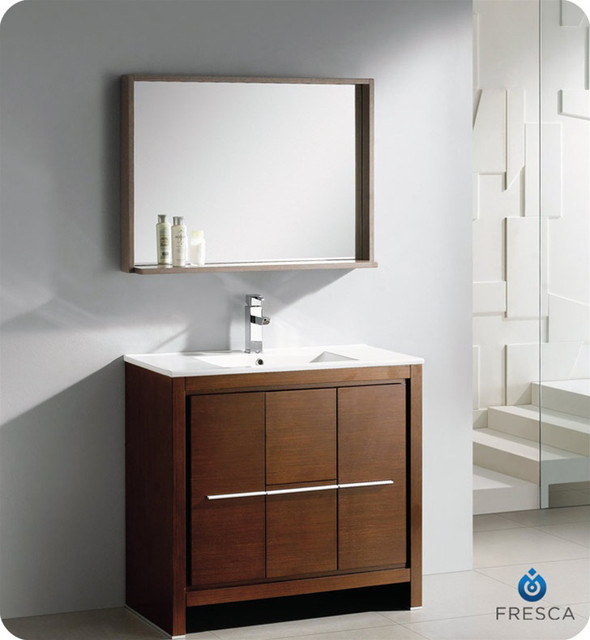 Fresca allier 36 inch wenge brown modern bathroom vanity for Wenge bathroom mirror