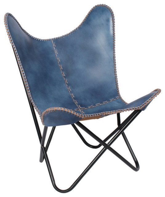 Leather Butterfly Chair With Black Frame Navy Blue Contemporary Folding
