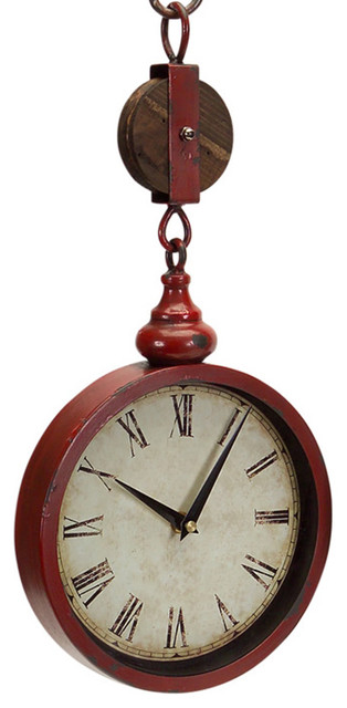 Vintage Pulley Clock & Pedestal Stand - Traditional ...