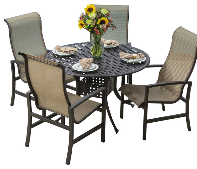 acadia 4 person sling patio dining set with cast aluminum
