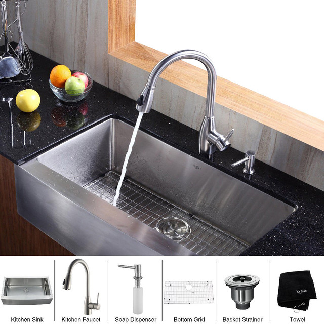 Stainless Steel Farmhouse Sink 36 Inch : Kraus 36 inch Farmhouse Single Bowl Stainless Steel Kitchen Sink with ...