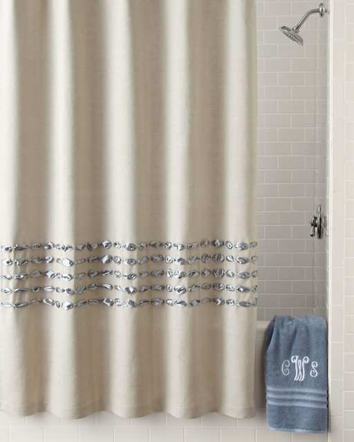 Condotti Shower Curtain Blue Contemporary Shower Curtains By Horchow
