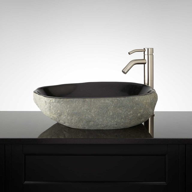Trevwin black river stone vessel sink traditional Black vessel bathroom sink