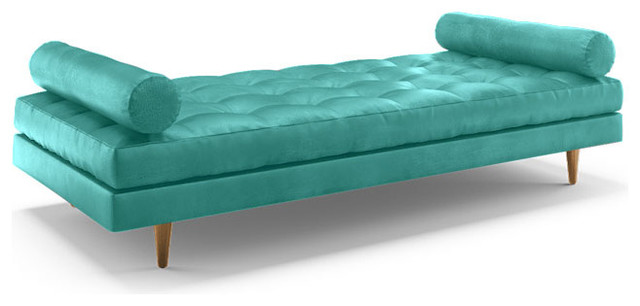 Eliot leather daybed brighton polinesia blue for Blue leather chaise