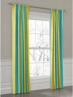 Aqua lime awning stripe custom outdoor drapery modern - Custom made outdoor curtains ...