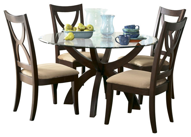 Homelegance stardust 5 piece round glass dining room set for Traditional round dining room sets