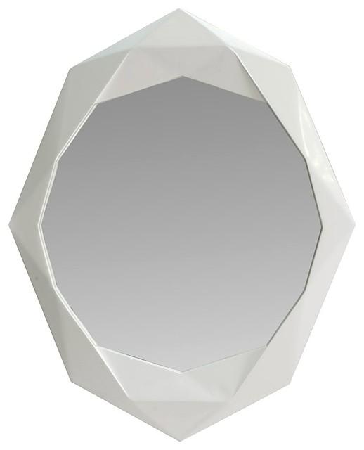Miroir design en bois blanc laqu contemporain miroir - Miroirs design contemporain ...