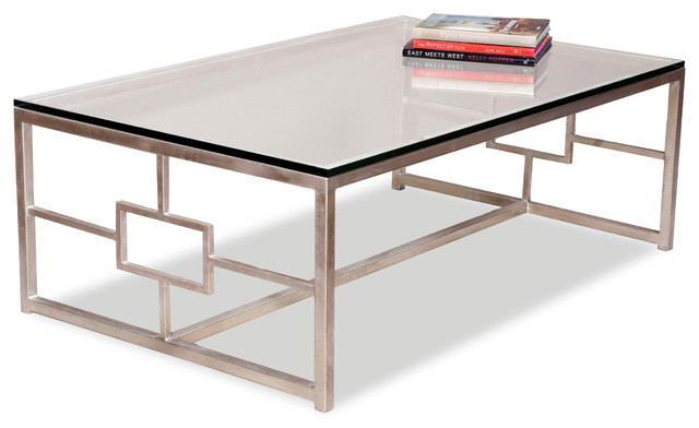 Vetra Contemporary Antique Silver Leaf Glass Rectangle Cocktail Table Transitional Coffee