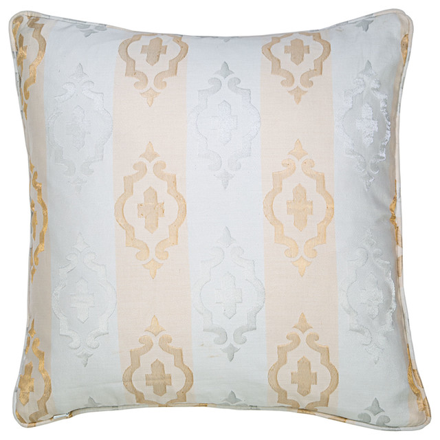 Jacquard Decorative Pillows : Moroccan Jacquard Pillow, Gold and Silver - Traditional - Decorative Pillows - by SIVAANA