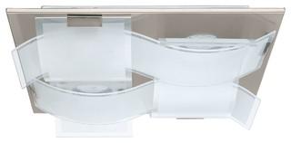 guadiano plafonnier 4 lumi res led acier verre l40cm contemporain plafonnier encastrable. Black Bedroom Furniture Sets. Home Design Ideas