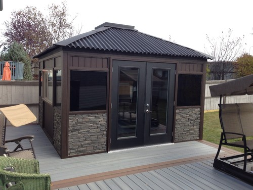 Custom 12x12 gazebo by timber concepts inside the gazebo is an 8x8 hot