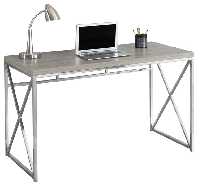 "Computer Desk, 48""L, Dark Taupe, Chrome Metal - Desks And Hutches"