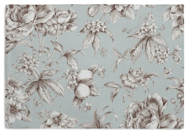 Light Blue Floral Toile Placemat, Set of 4 - Traditional