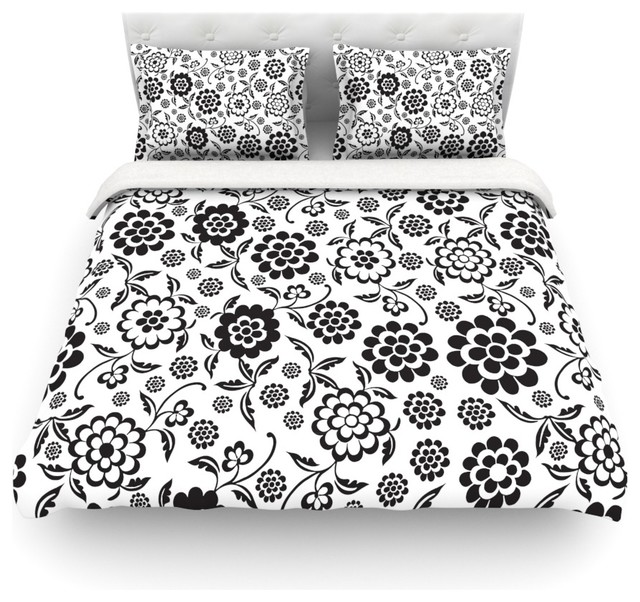 "Nicole Ketchum ""Cherry Floral White"" Duvet Cover Farmhouse Duve"