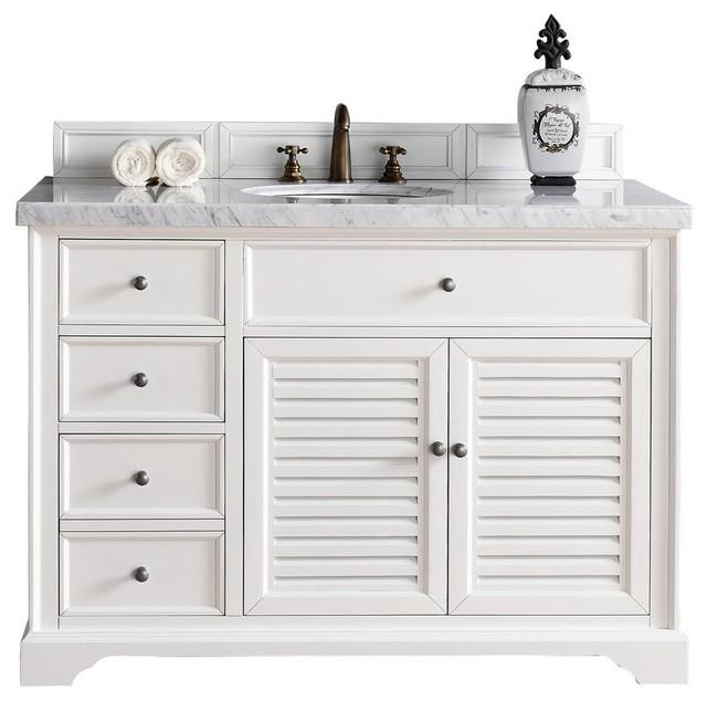 Savannah 48 Cottage White Single Vanity No Top Beach Style Bathroom Vanities And Sink