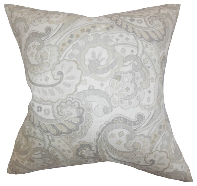 Traditional Decorative Pillows : Iphigenia Floral Pillow Gray 18