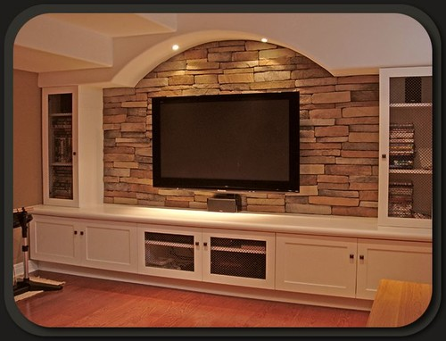 Stone Fireplace And Stone TV Wall