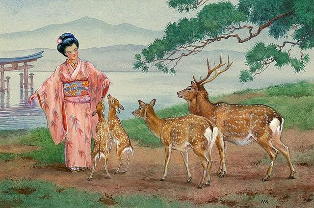 Sika deer wallpaper wall mural self adhesive multiple for Deer mural wallpaper