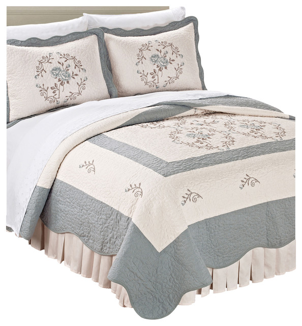 Embroidered microfiber bedspread piece set gray blue