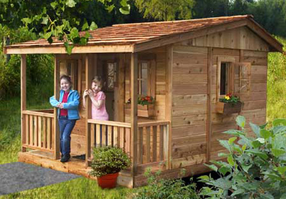 Cozy cabin playhouse outdoor playhouses by kids for Kids cabin playhouse