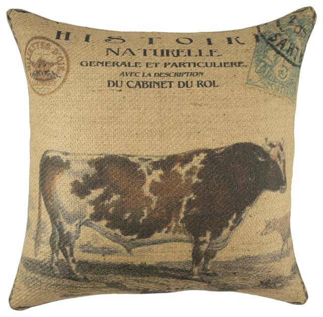 Cow Burlap Pillow - Farmhouse - Decorative Pillows - by TheWatsonShop
