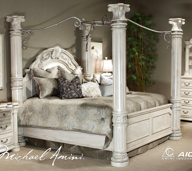 Monte Carlo II Silver Pearl Canopy Bed Collection By Aico