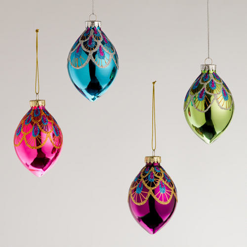 Peacock Glass Teardrop Ornaments - Contemporary ...
