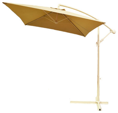 adjustable taupe cantilever square patio umbrella with