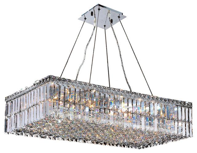 Cascade Light Rectangular Crystal Chandelier
