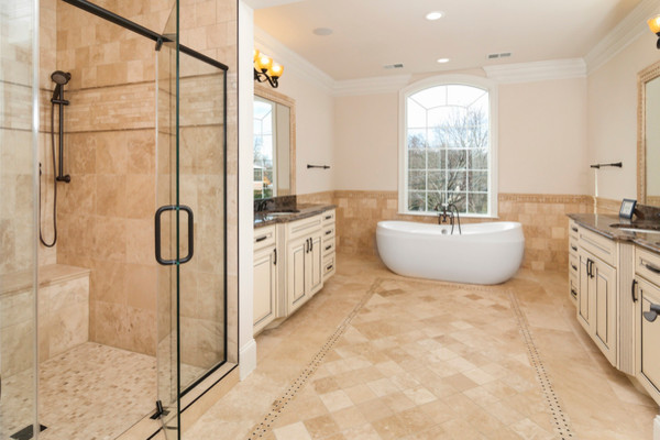 Piedmont Ivory Collection Travertine Modern Bathroom